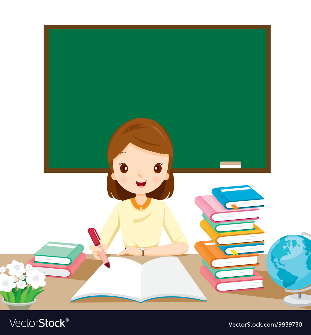 Woman teachers checking homework on table vector