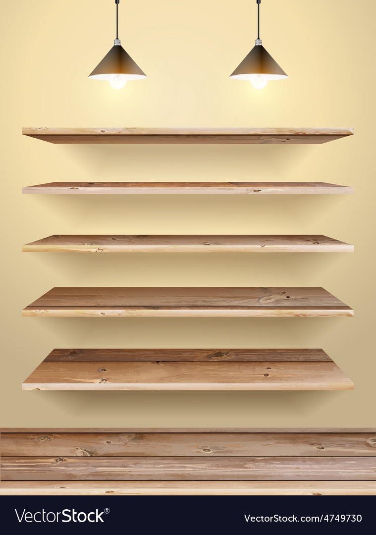 Wood shelf vector