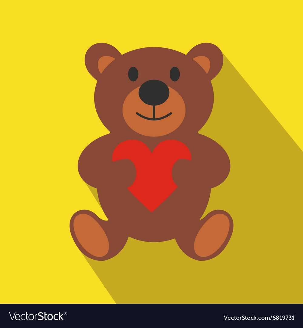 Teddy bear flat icon vector