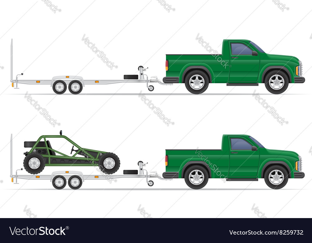 Car pickup with trailer 01 vector
