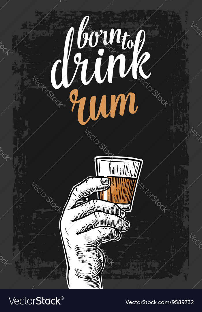 Male hand holding a glass with rum vintage vector