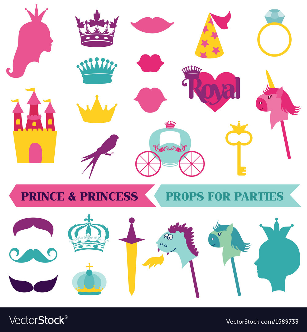 Prince and priness party set  photobooth props vector
