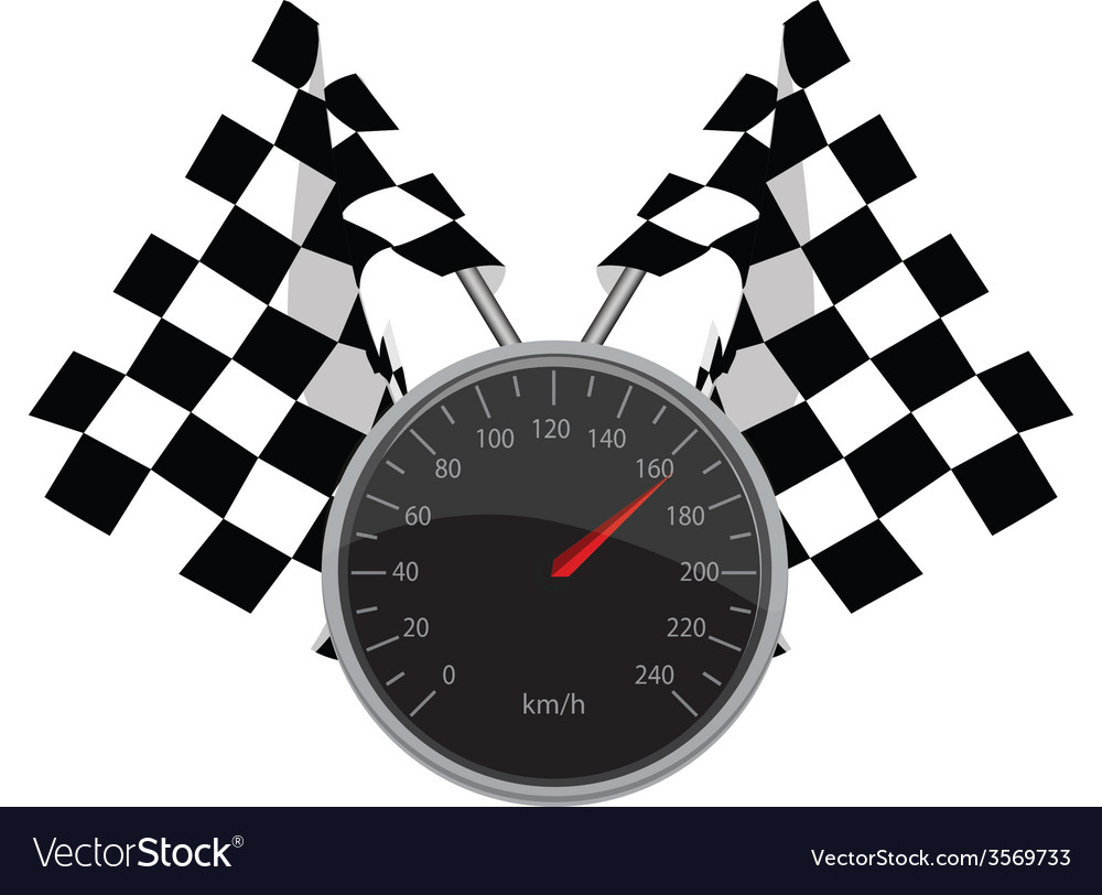 Speedometer and crossed flags vector