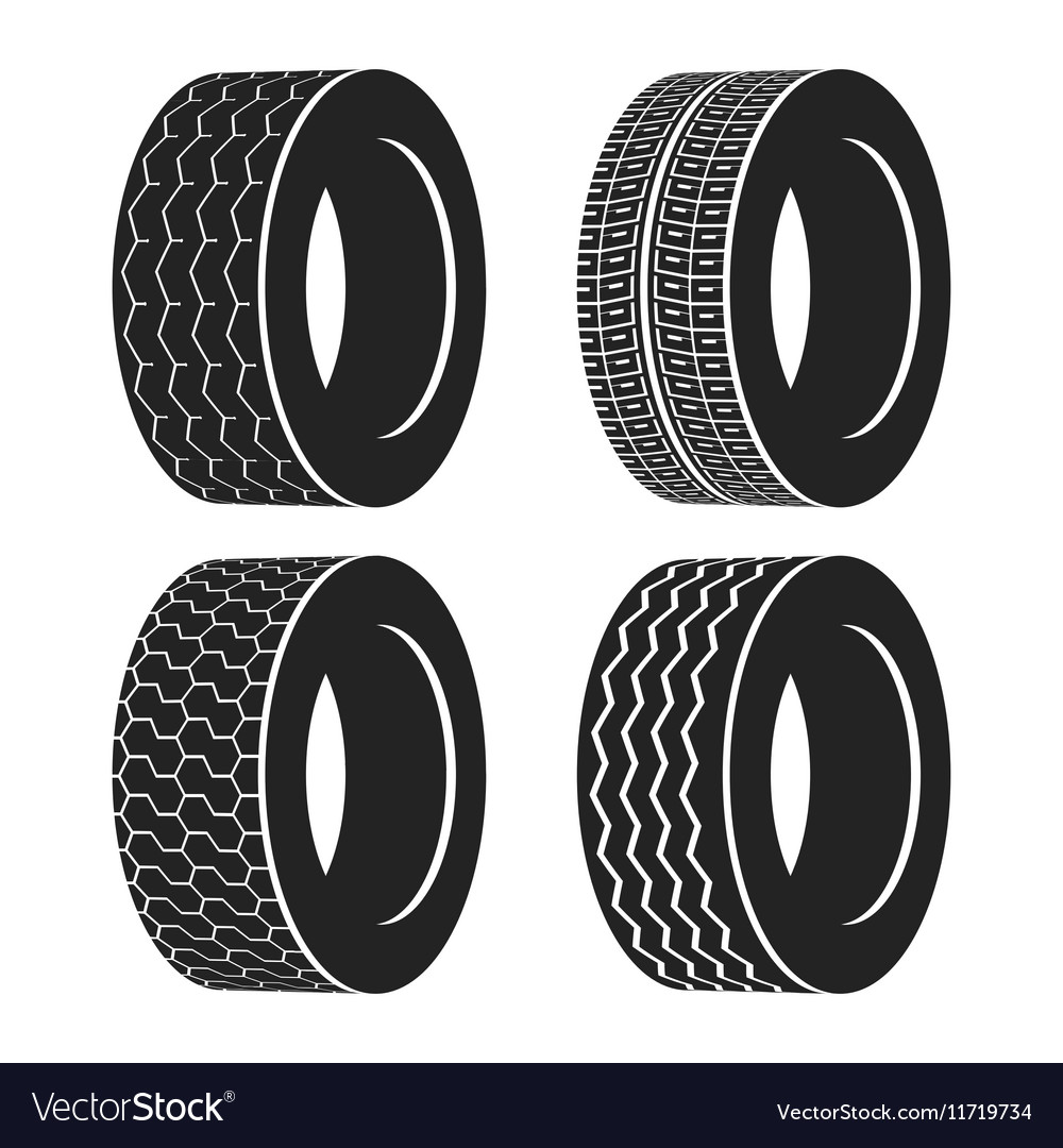 Bus rubber tire for wheel truck or auto tyre vector