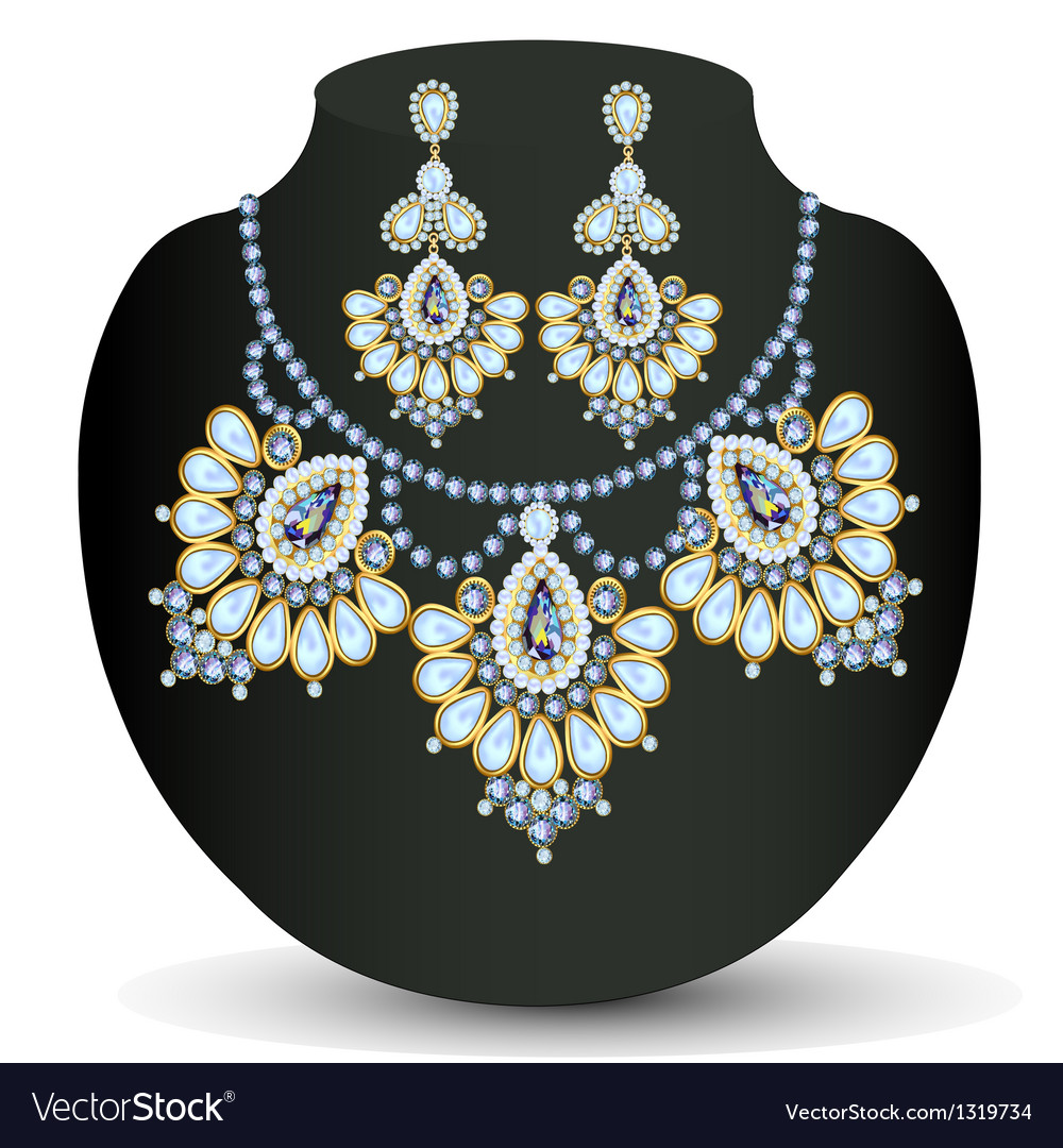 Necklace and earrings with pearls vector