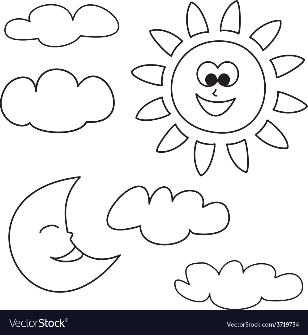 Sun moon and clouds  weather cartoon icons set vector