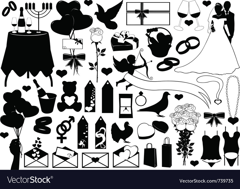 Different sign and symbols of love vector