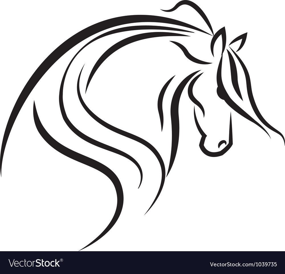 Horse stylized swoosh vector