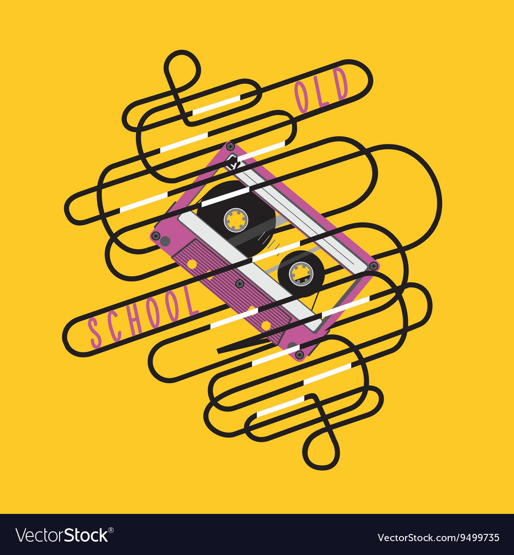 Retro poster with a audio cassette and tangled vector