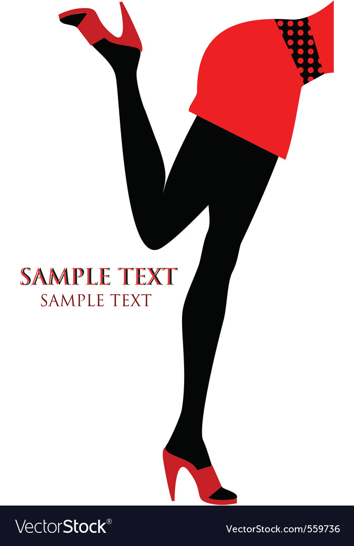 Female legs with red shoes vector