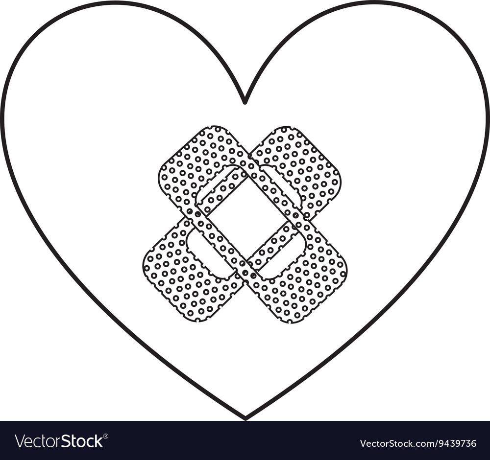Heart with bandages isolated icon design vector