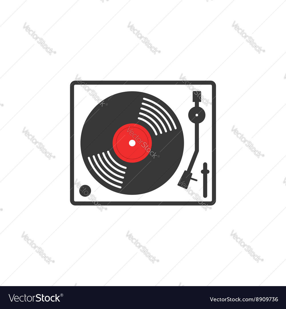 Retro vinyl music player icon vector