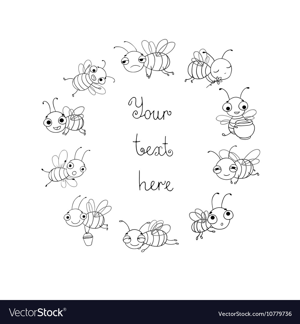 Set with cute cartoon bees vector