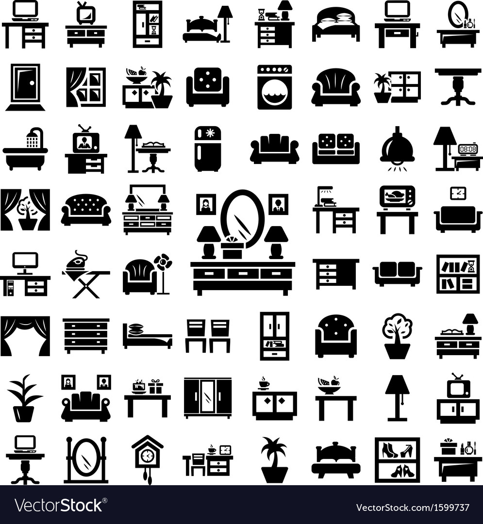 Big furniture icons set vector