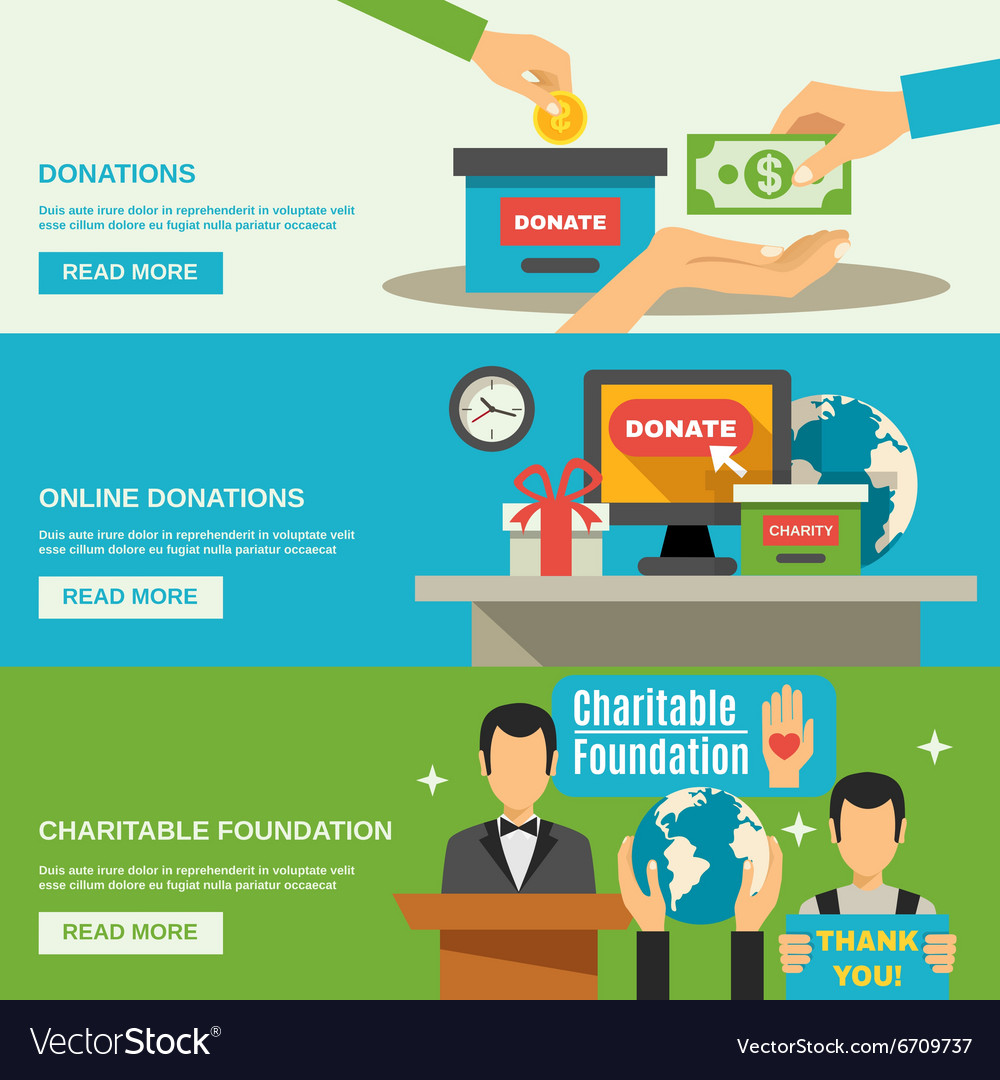 Charity banners set vector