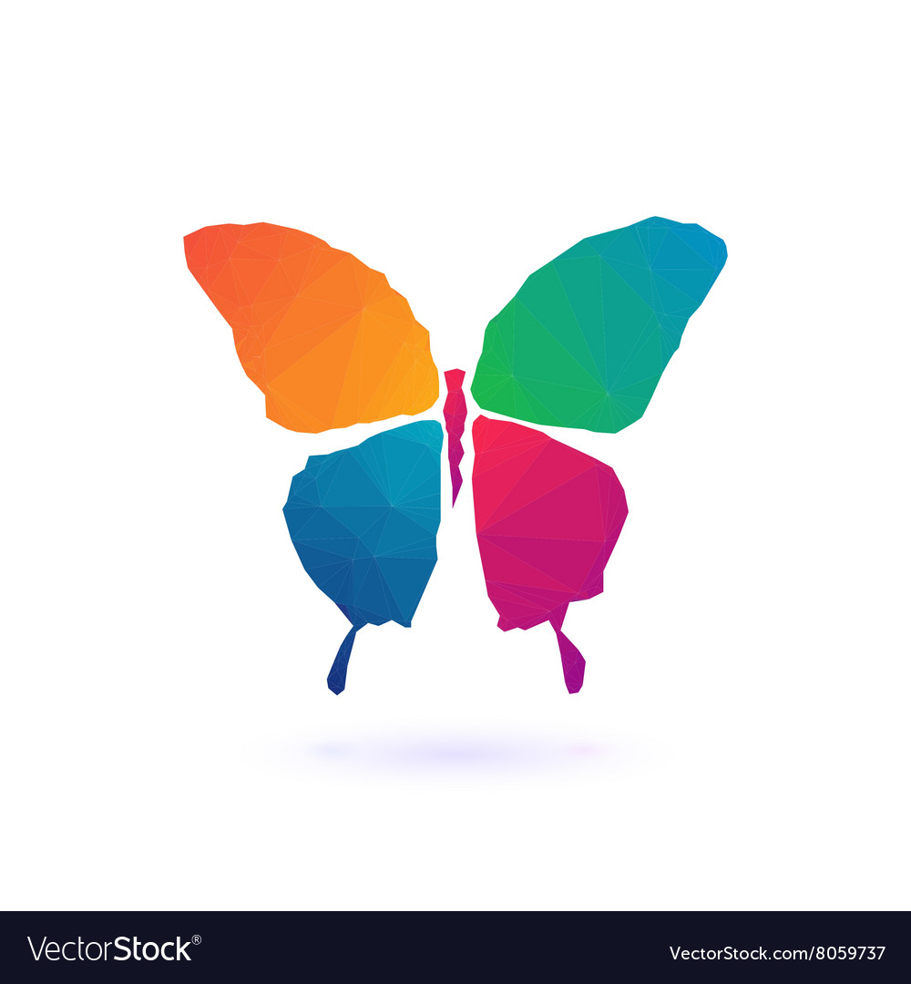 Colorful polygonal mosaic butterfly vector