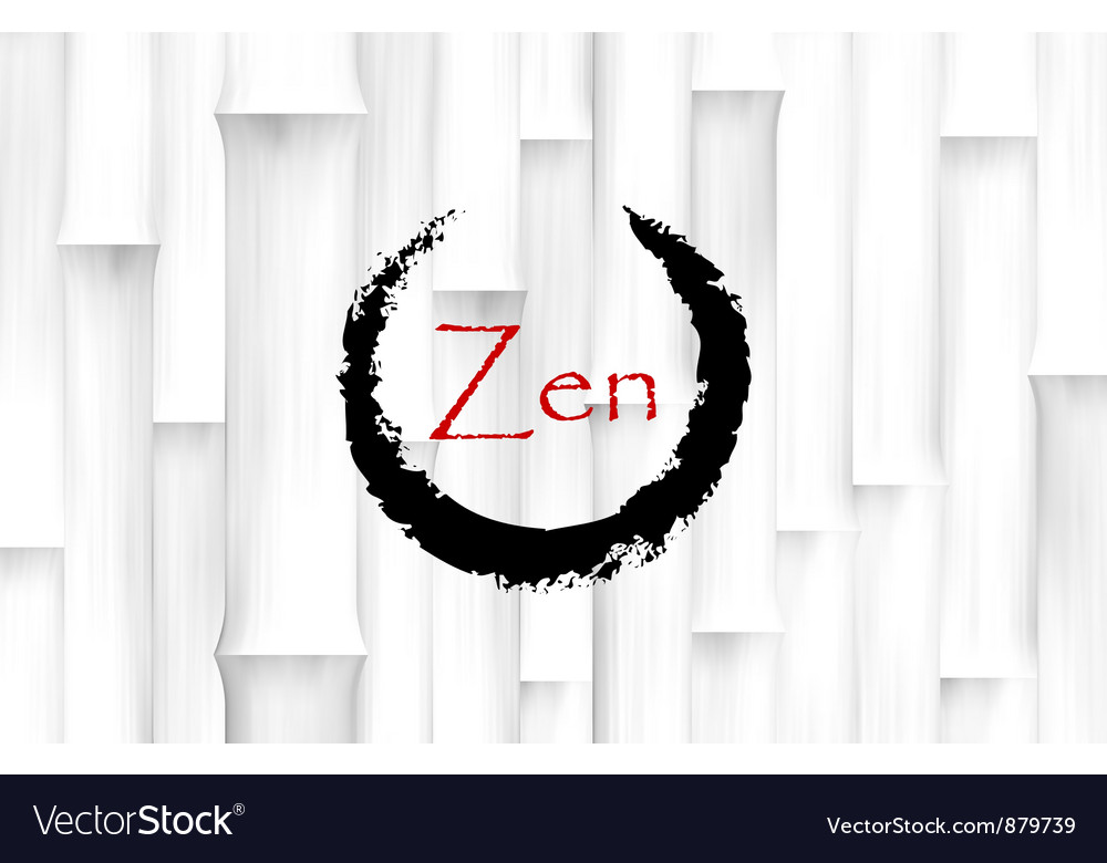 Bamboo background with zen circle symbol vector