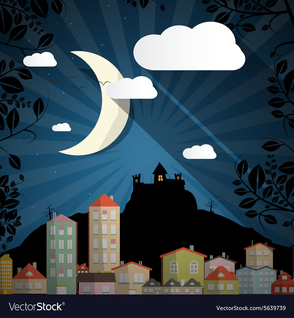 Dark scene with moon  spooky castle and buildings vector