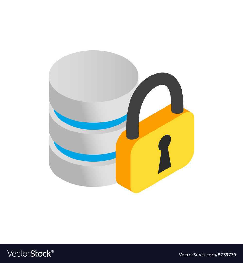 Database with padlock icon isometric 3d style vector