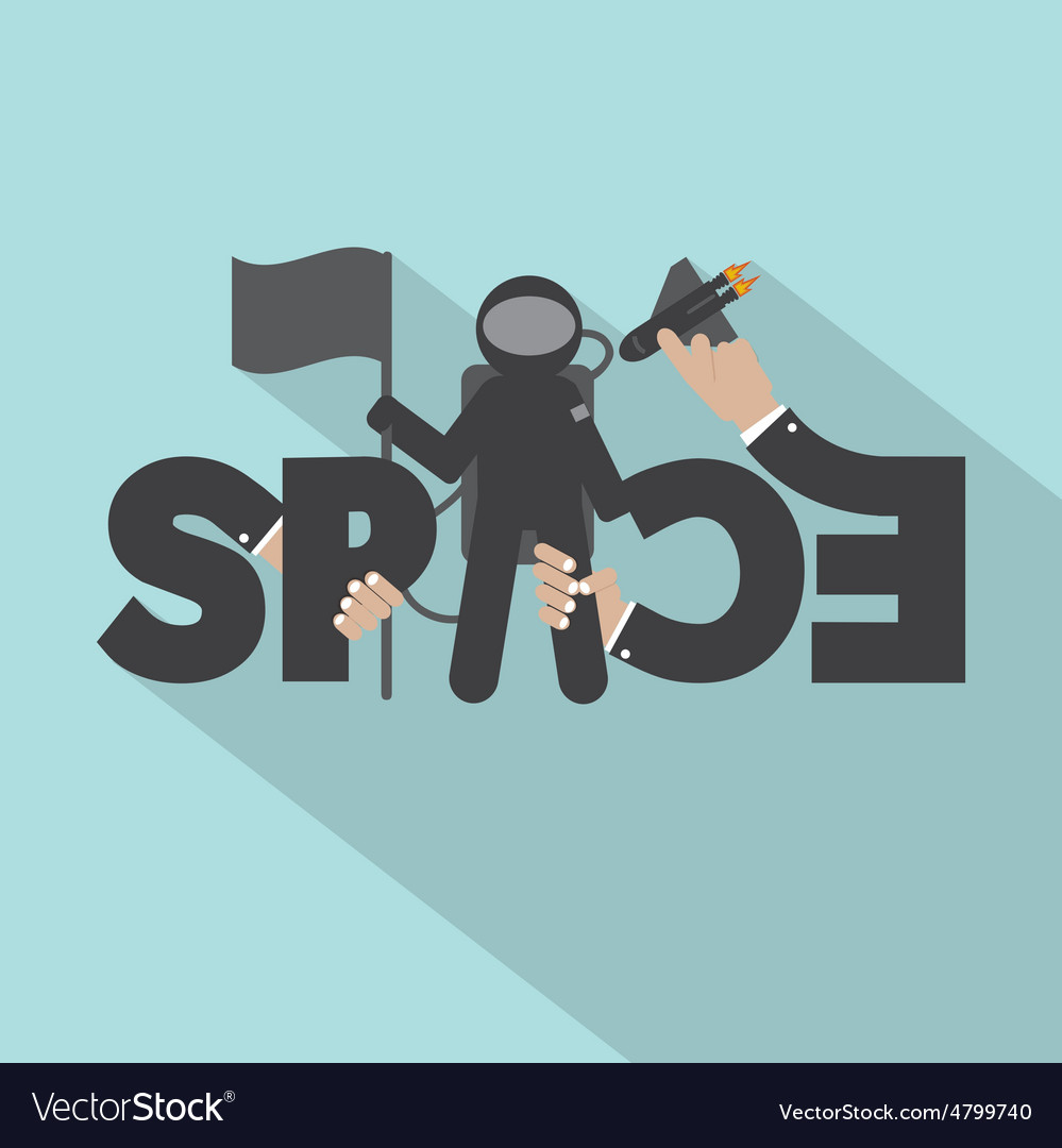 Astronaut with space typography design vector