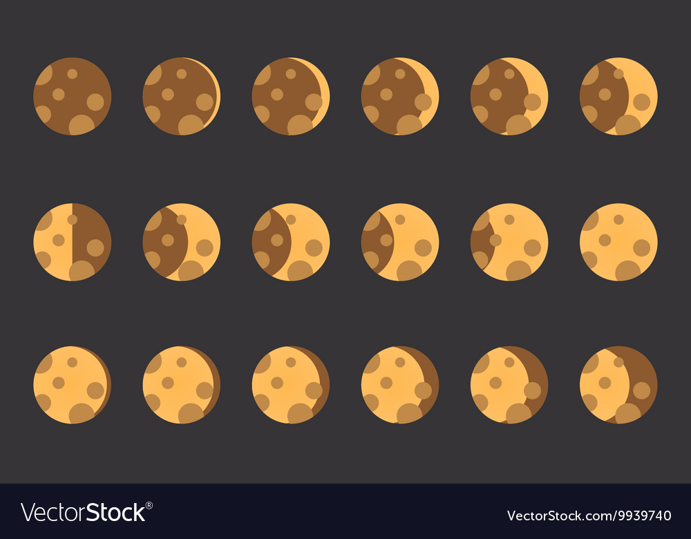 Phases of the moon the whole cycle from new vector