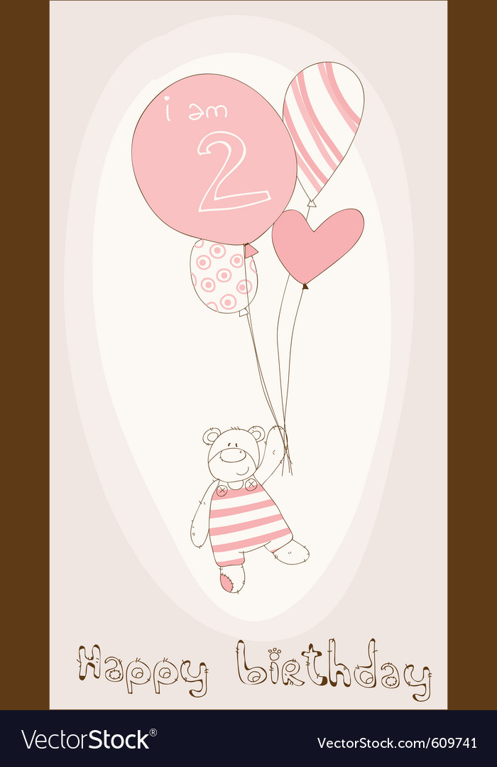 Baby girl birthday card vector