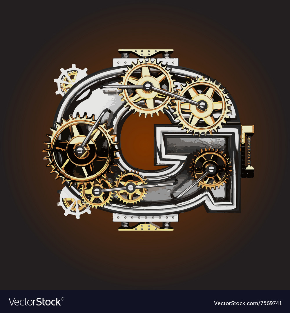 G letter with gears vector