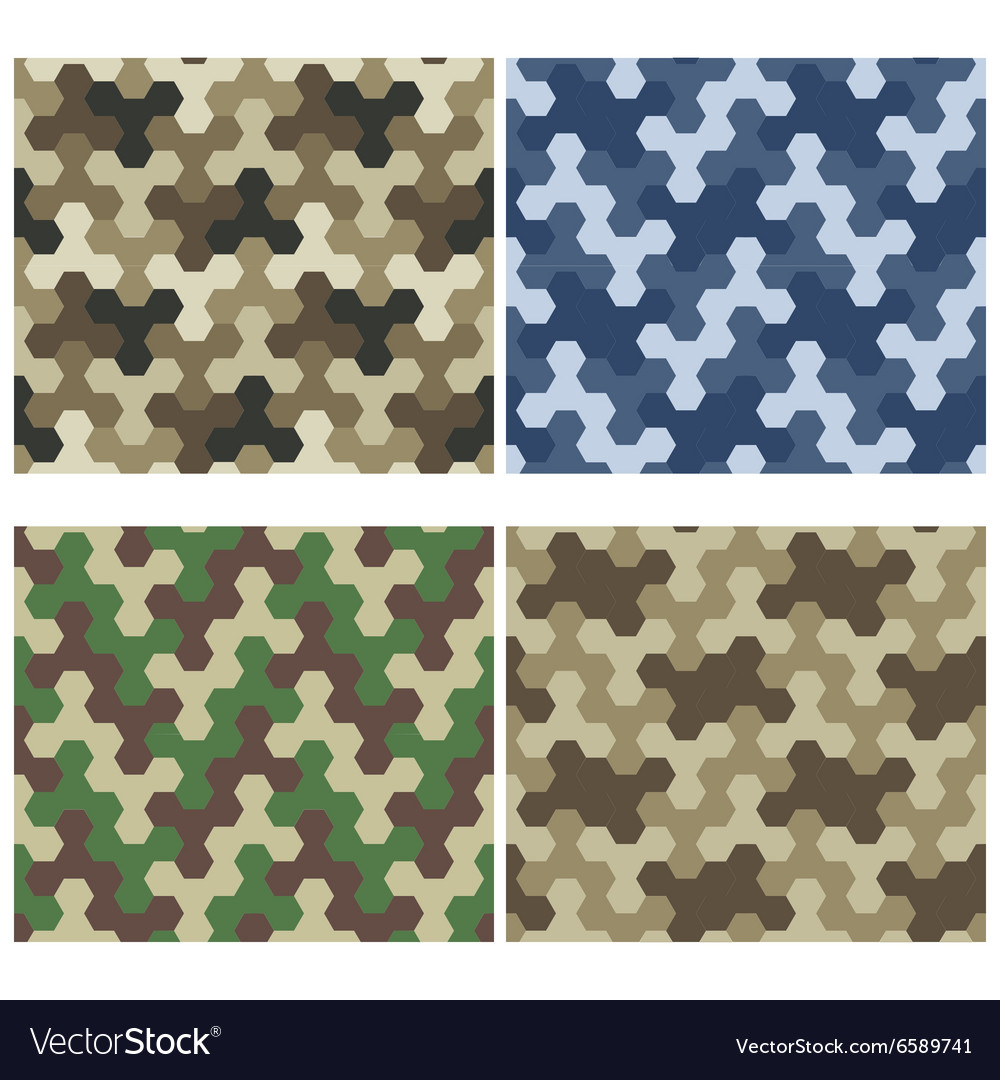 Seamless camouflage geometric pattern set three vector
