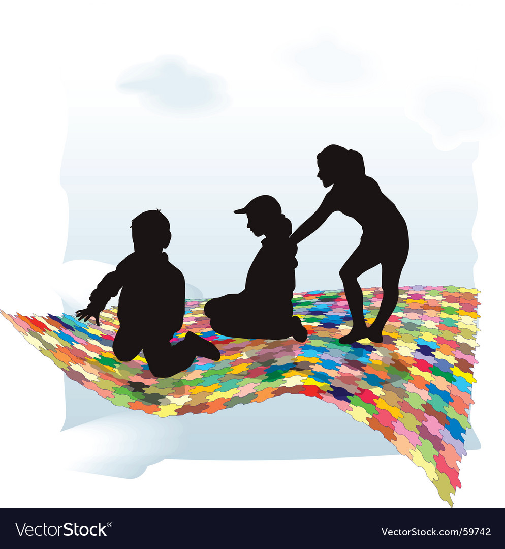 Puzzle and children vector