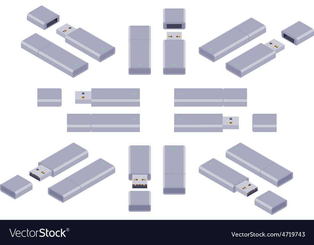 Isometric usb flashdrive vector