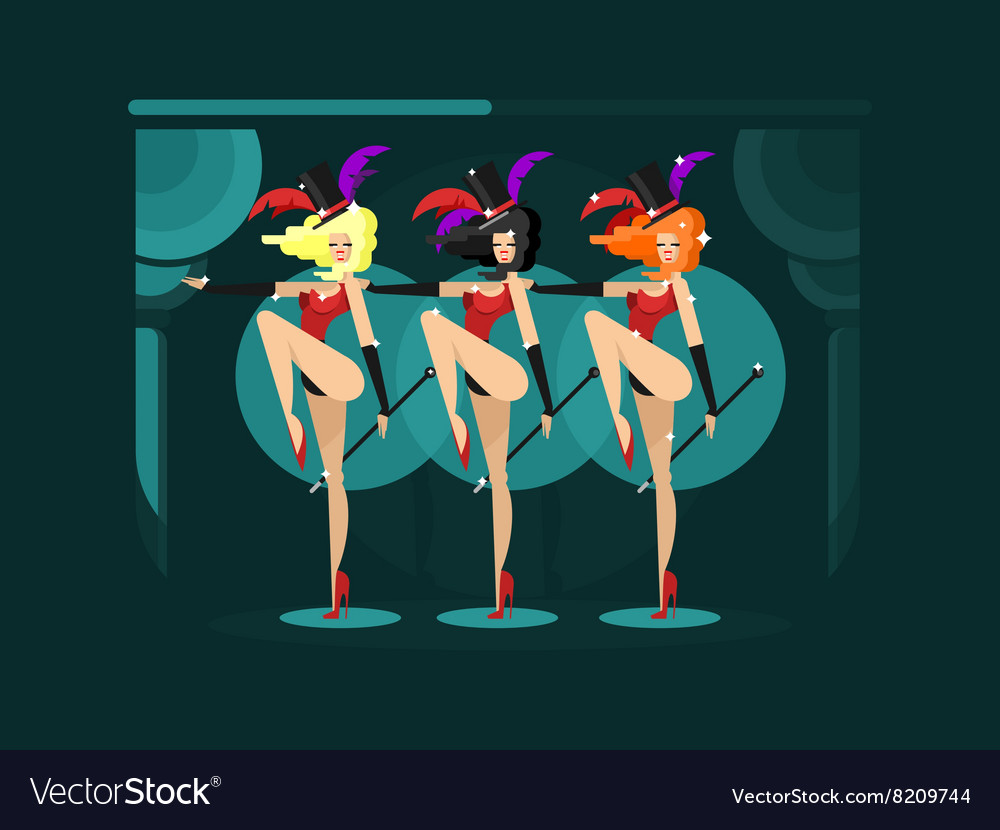 Cabaret dance girls vector