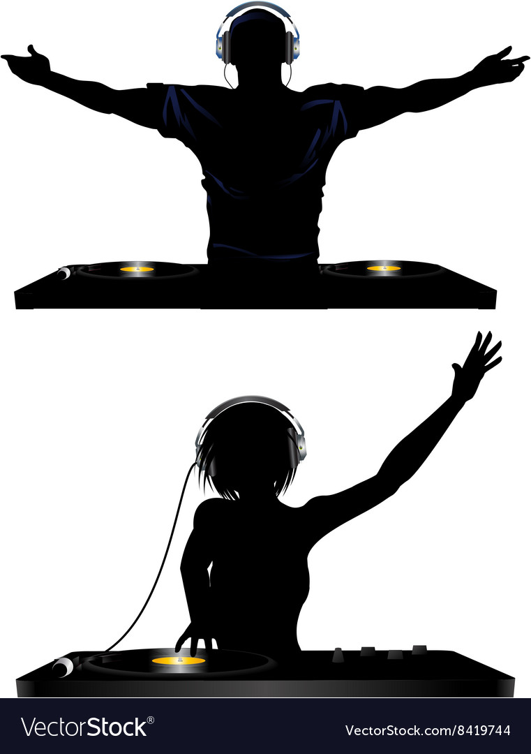 Male and female dj and record decks vector