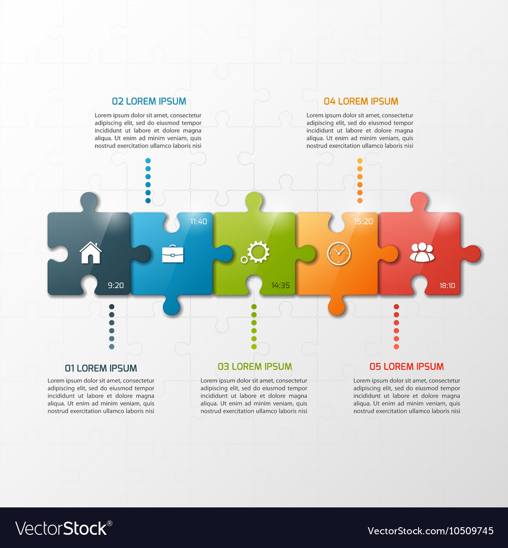 5 steps puzzle style infographic template vector