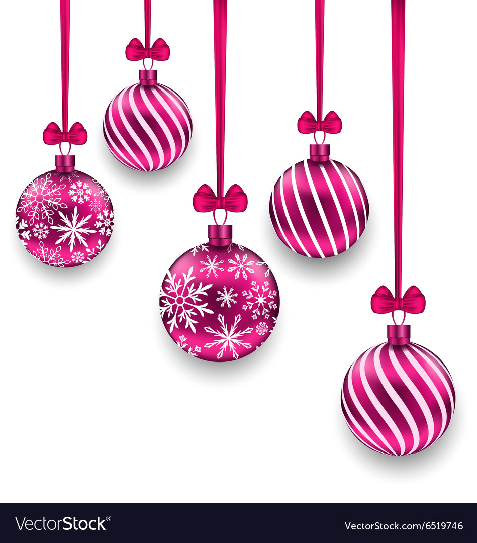 Christmas pink glassy balls with bow ribbon vector