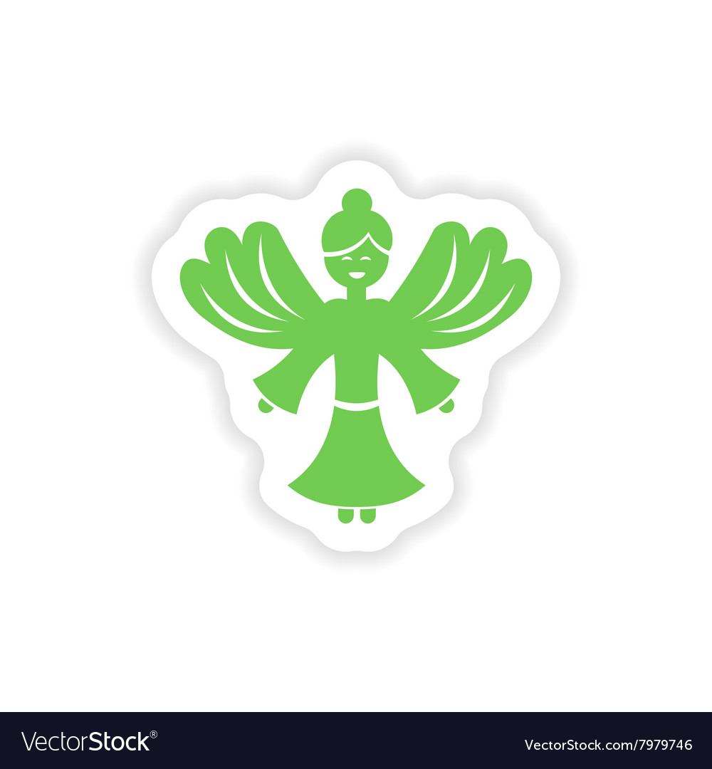 Paper sticker on white background christmas angels vector