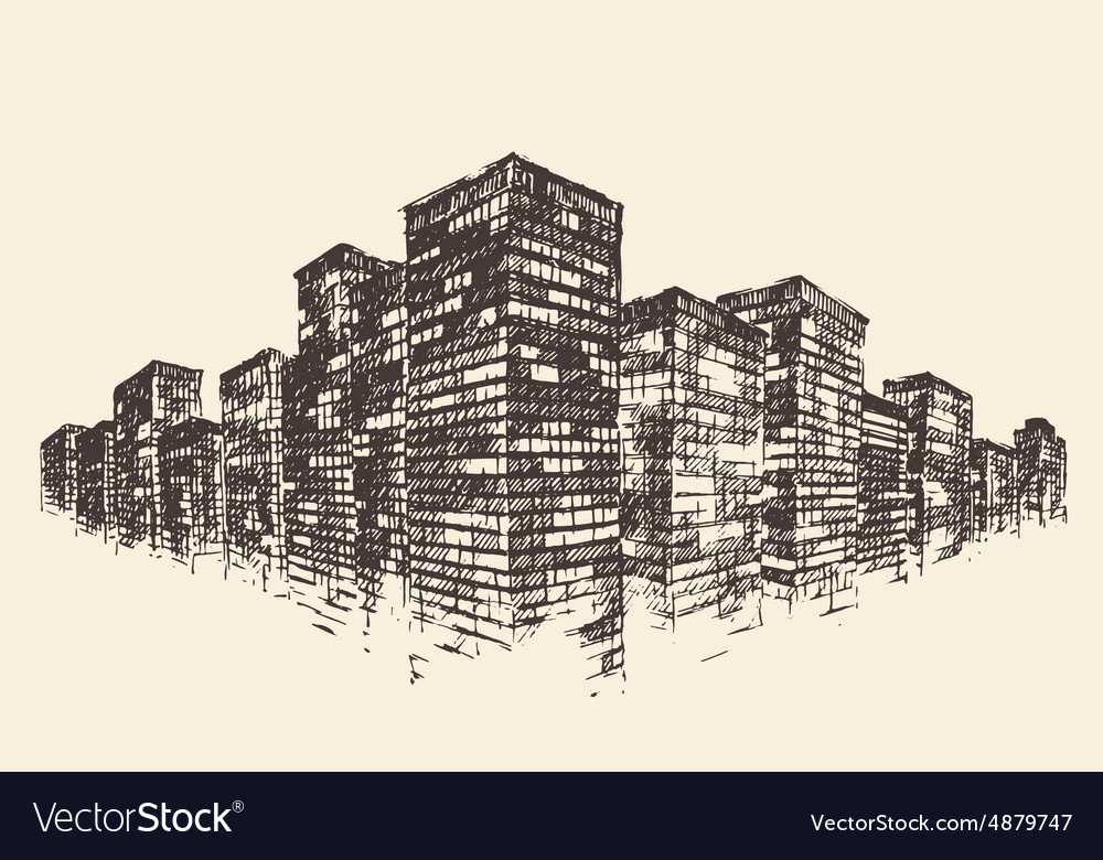 Big city concept architecture engraved vector