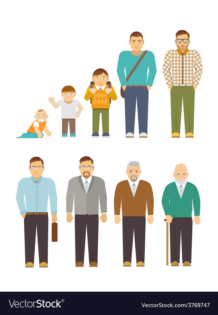 Generation men flat vector