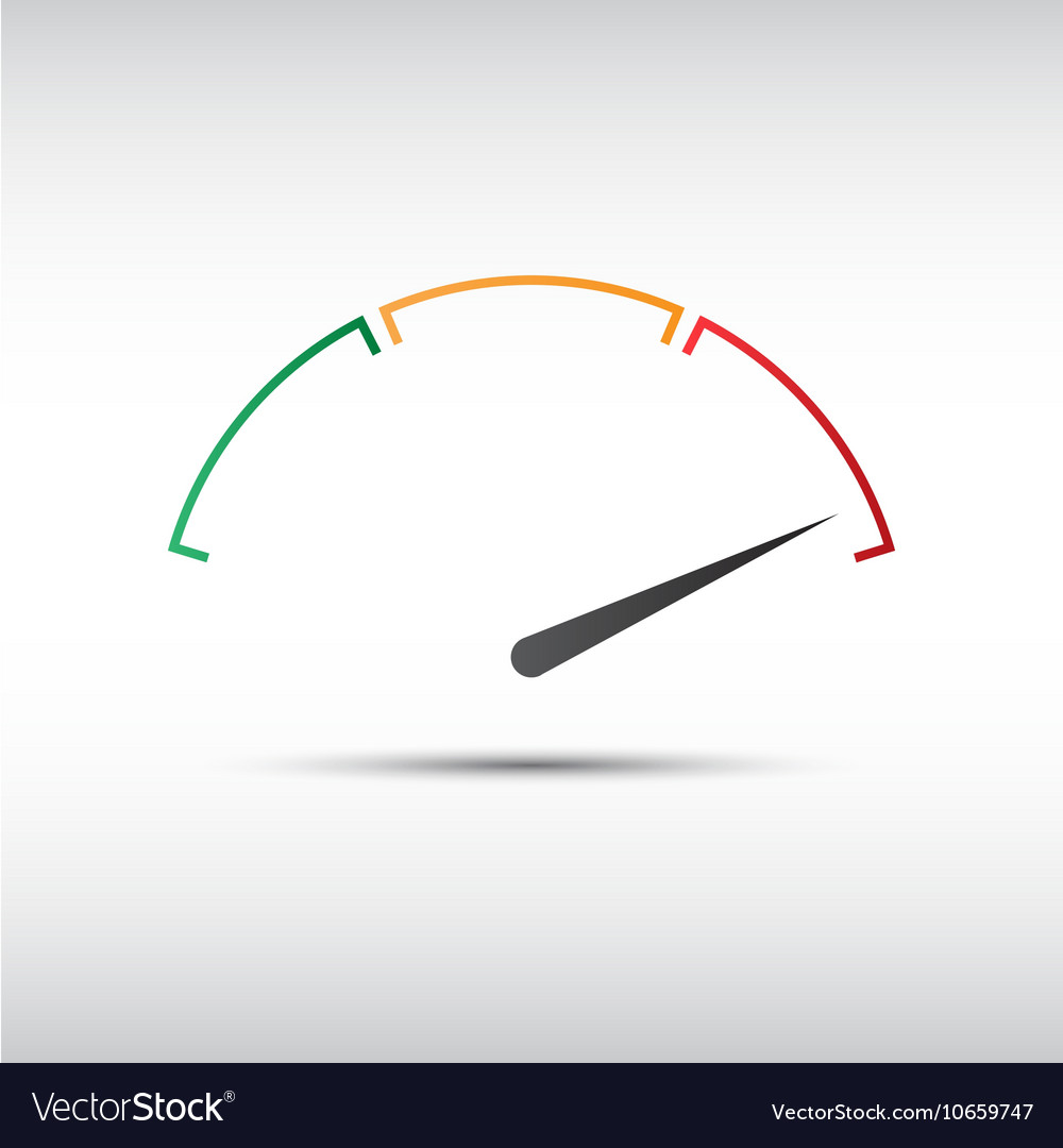 Simple tachometer with indicator in red part vector