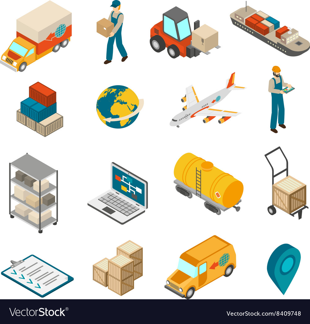 Logistics transportation symbols isometric icons vector