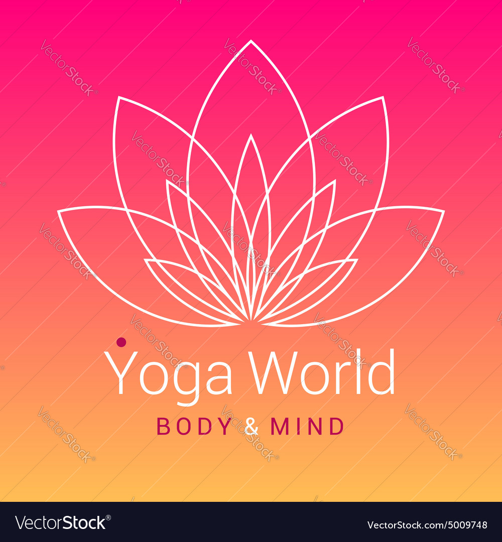 Lotus flower as symbol of yoga vector