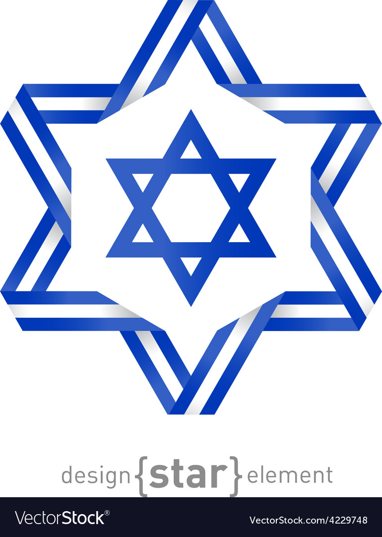 Star with israel flag colors and symbols vector