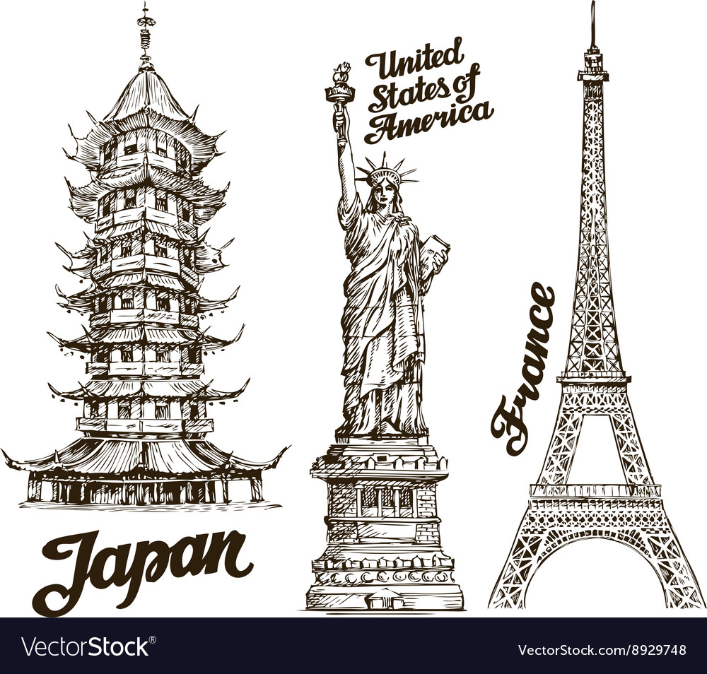 Travel hand drawn sketch japan usa france vector