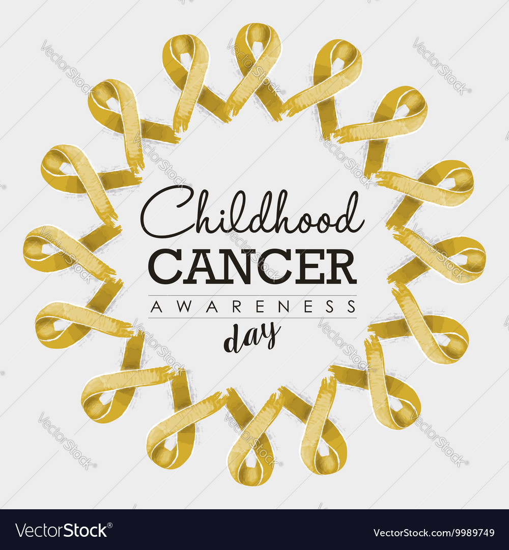 Child cancer awareness ribbon design with text vector