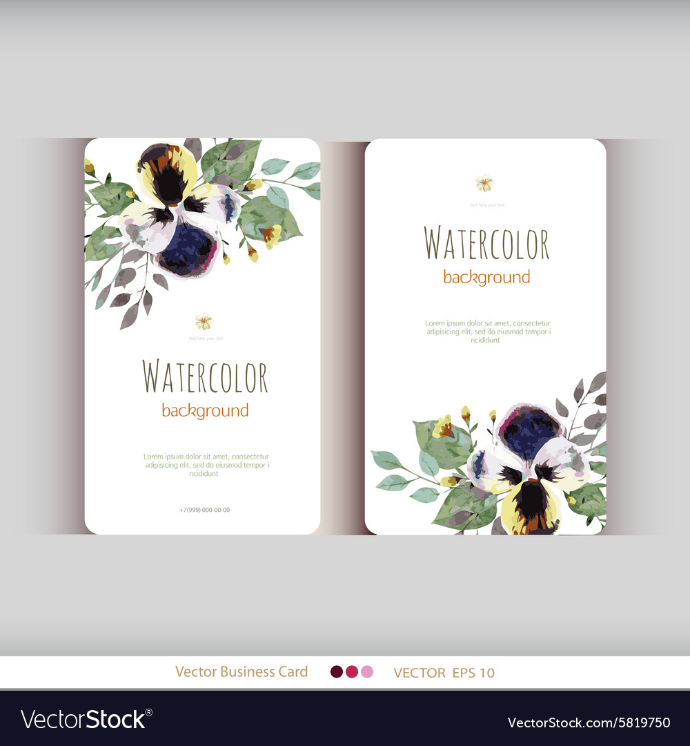 Abstract watercolor cards watercolor flowers vector