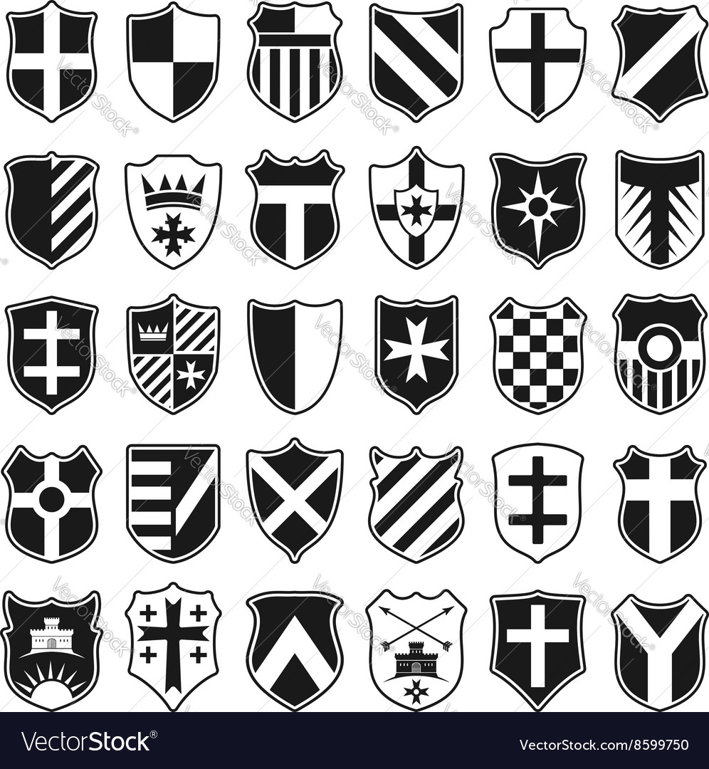 Large set of heraldic shields vector
