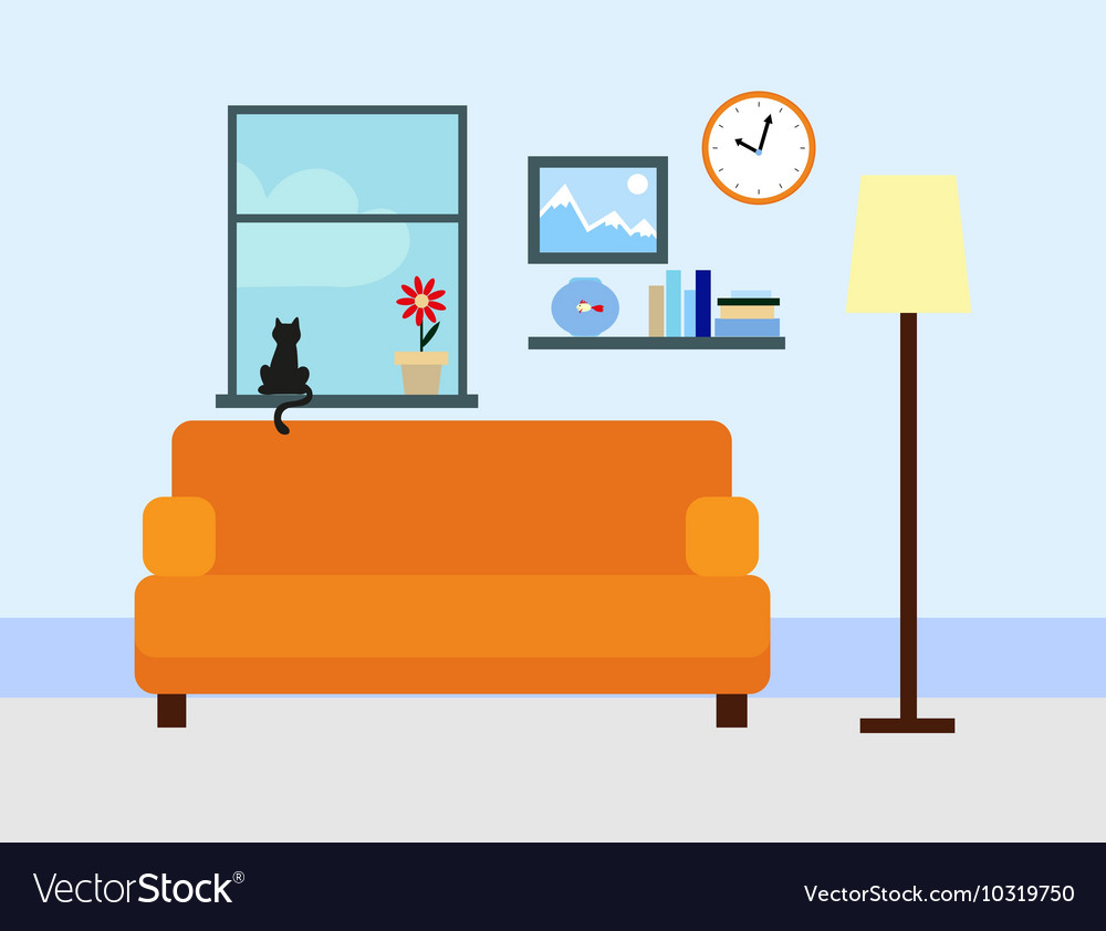 Sitting room in flat style vector