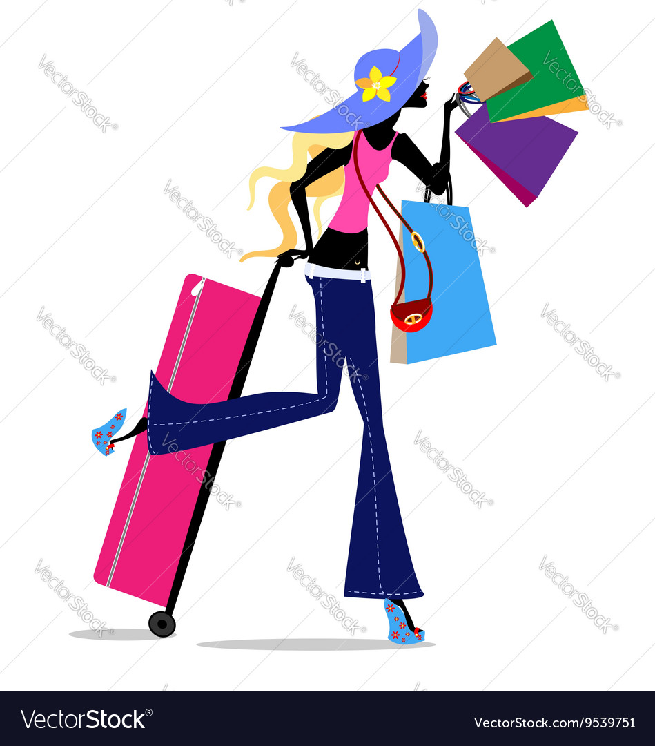 Blonde girl with suitcase vector