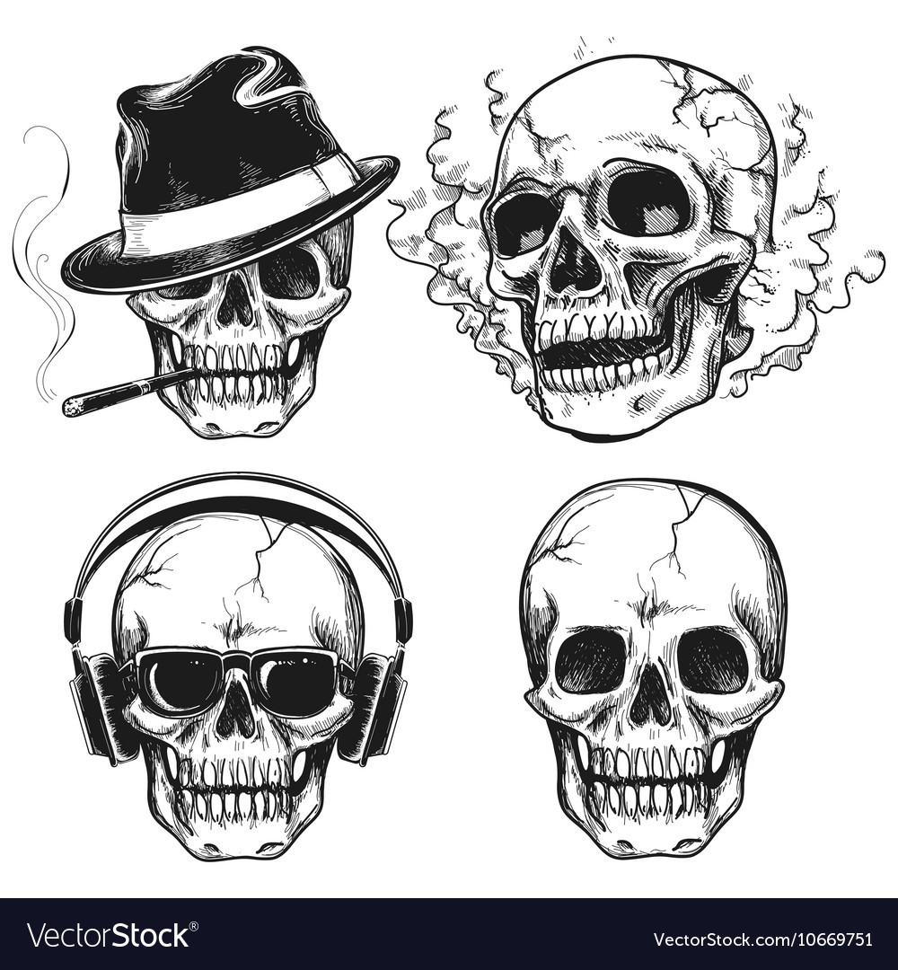 Set of hand drawn skulls vector