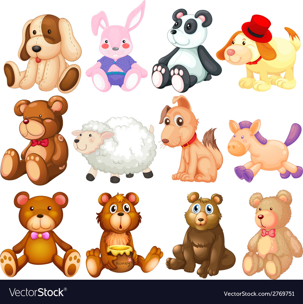 Stuffed animals vector