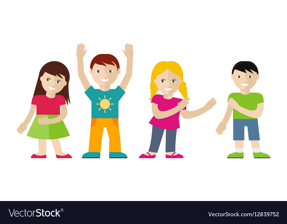 Children set in flat style vector